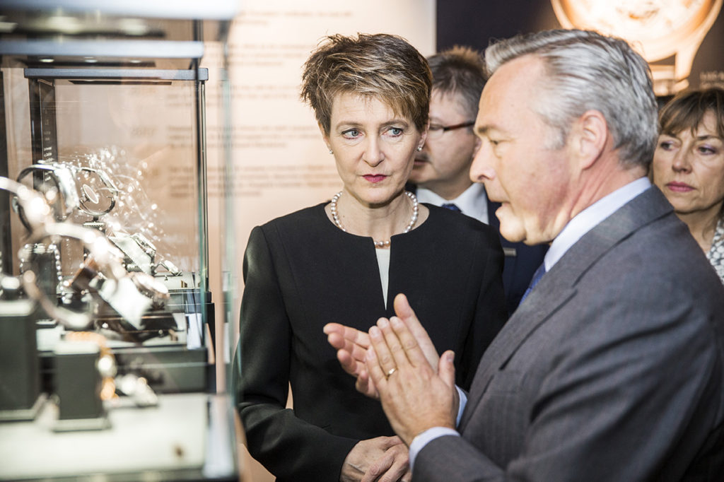 Baselworld 2016 | Opening Ceremony | VIP Tour | from left to right, Swiss Federal Councillor Sommaruga, K-F. Scheufele