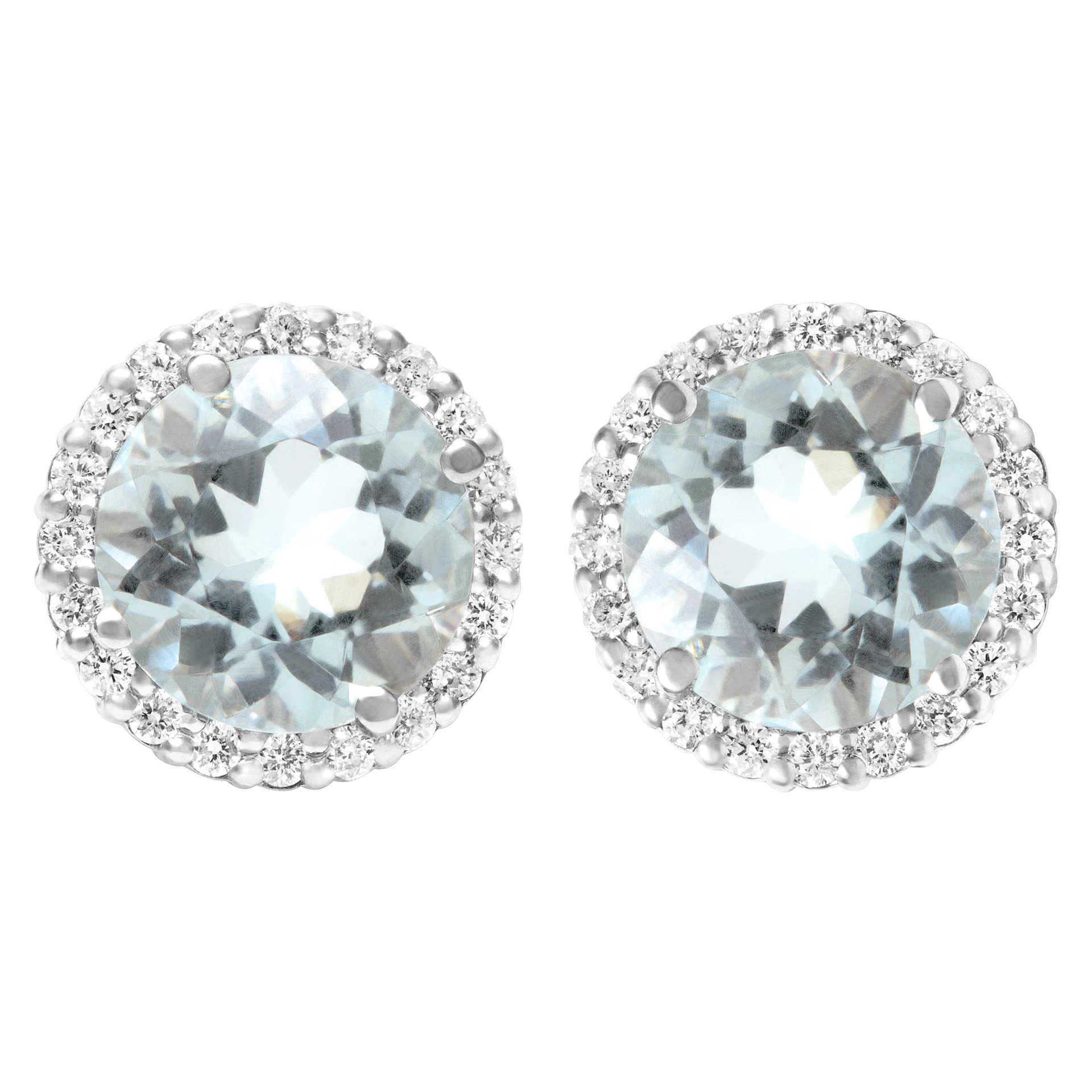 aquamarine stud earrings in 18k white gold with diamonds