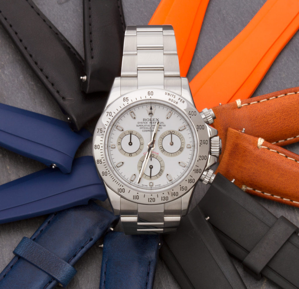 Rolex Daytona with leather and rubber watch strap variations