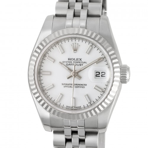 Rolex Datejust in stainless steel with 18k white gold fluted bezel.