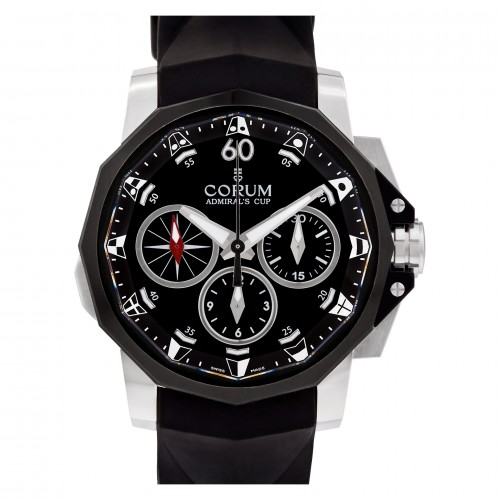 Corum Admiral's Cup in stainless steel with black fiber bezel on a rubber strap.