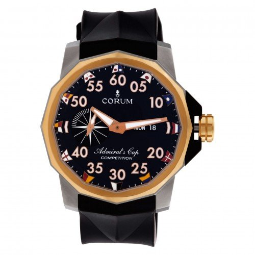 Corum Admiral's Cup Competition 48 in titanium & 18k rose gold on a rubber strap.
