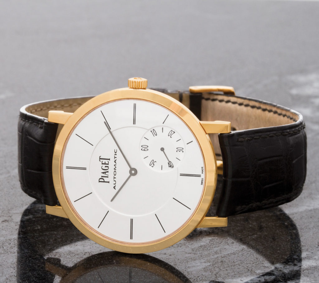 Gray & Sons Version: Piaget Altiplano in 18k rose gold on alligator strap.