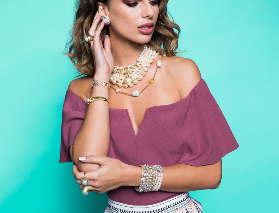 Vintage jewelry mixed in with contemporary outfits.