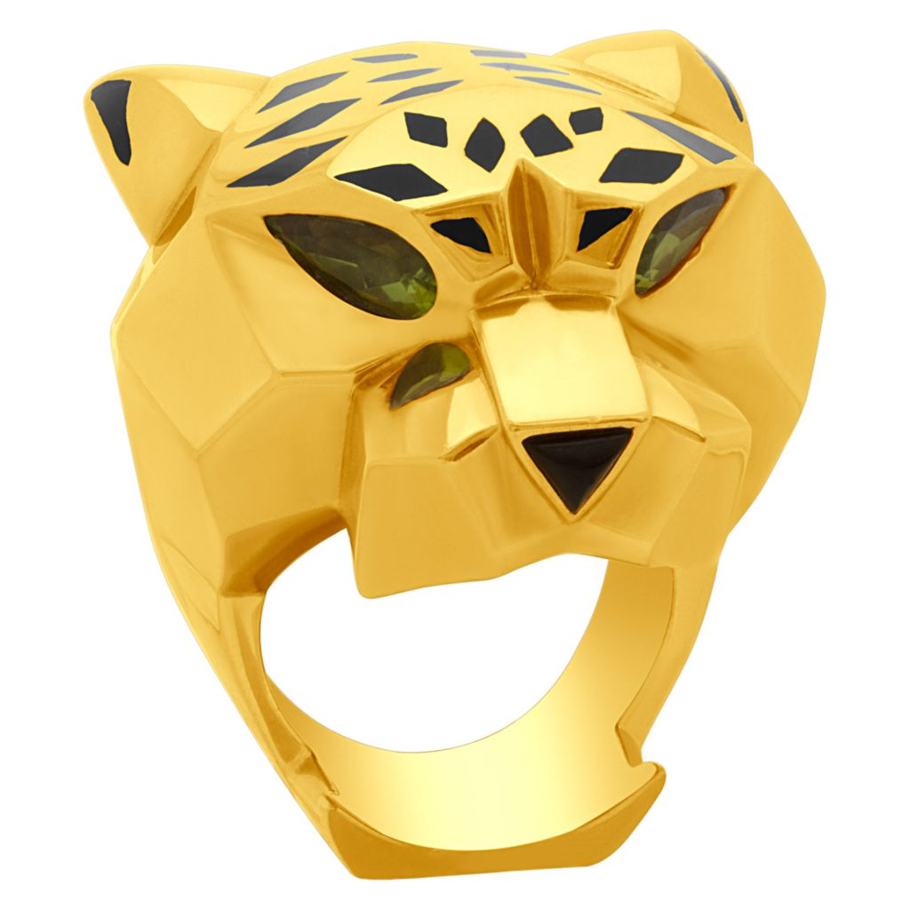 18k Yellow Gold Cartier Jewelry Panther Ring