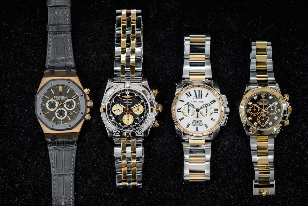 Luxury two-tone chronographs from Audemars Piguet, Breitling, Cartier, and Rolex