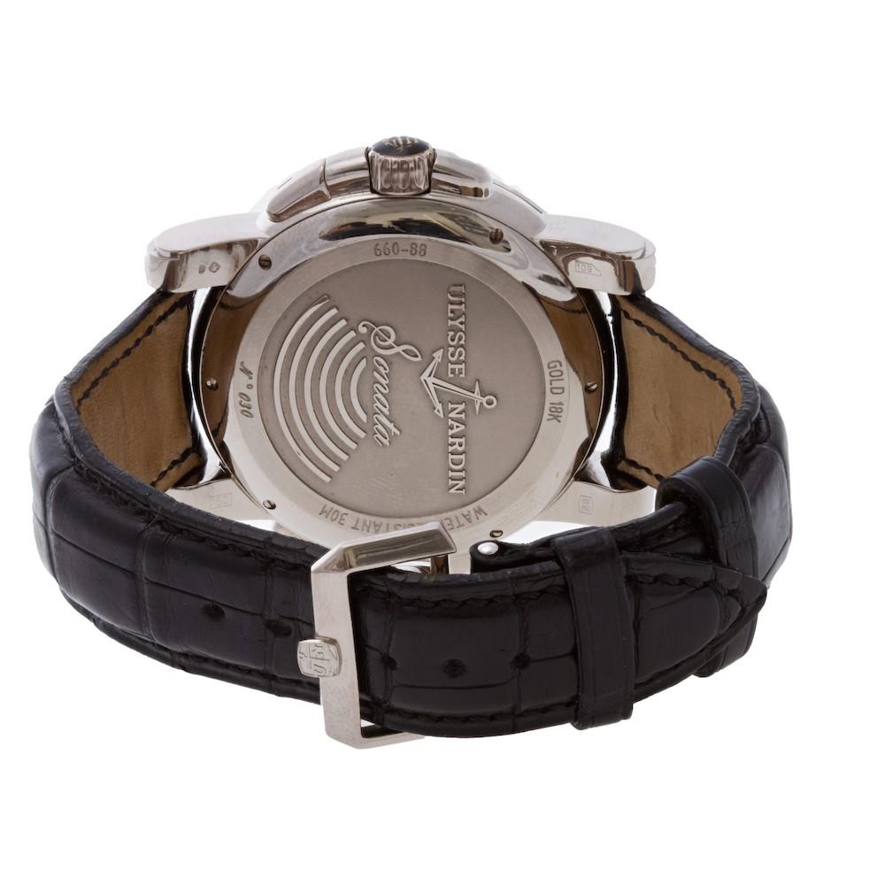 Ulysse Nardin Sonata in 18k white gold with black alligator leather strap