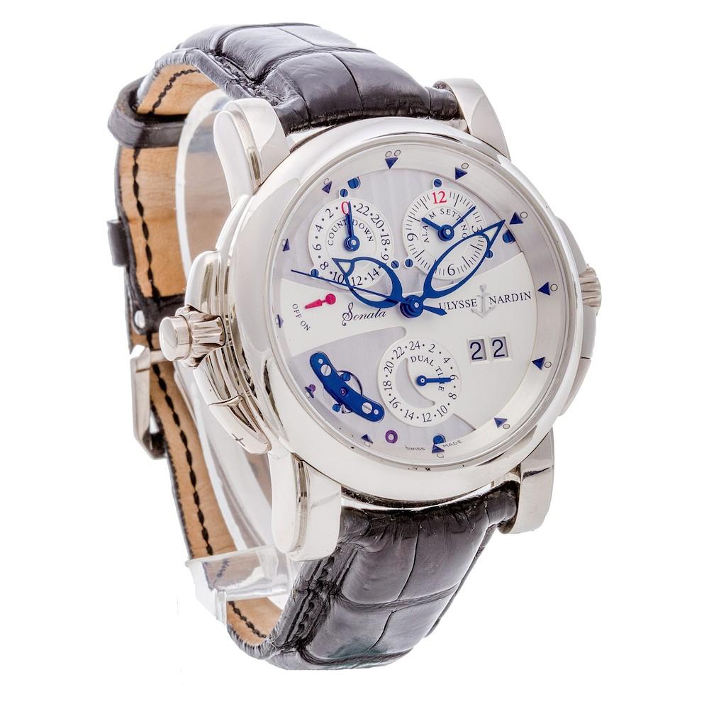 Ulysse Nardin Watches: Sonata in 18k white gold with black alligator leather strap