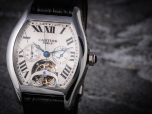 Cartier Tortue Xl Tourbillon Chrono Monopoussoir Platinum Watch