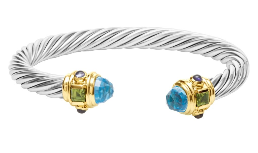David Yurman Renaissance bracelet in 18k yellow gold and sterling silver with blue topaz, amethyst and peridot