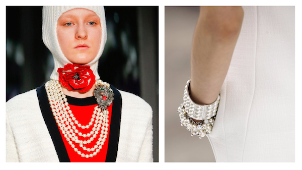 Jewelry Trend for Fall/Winter 2017: Layered Pearls (pics: Gucci & Chanel)