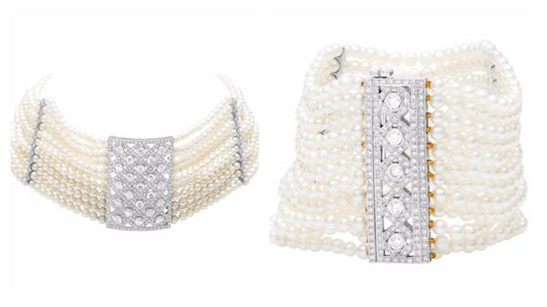 Seed pearls choker and bracelet set
