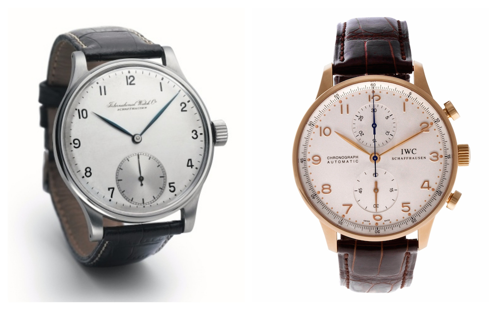 Vintage Portuguese (left) and modern day Portuguese Chronograph (right)