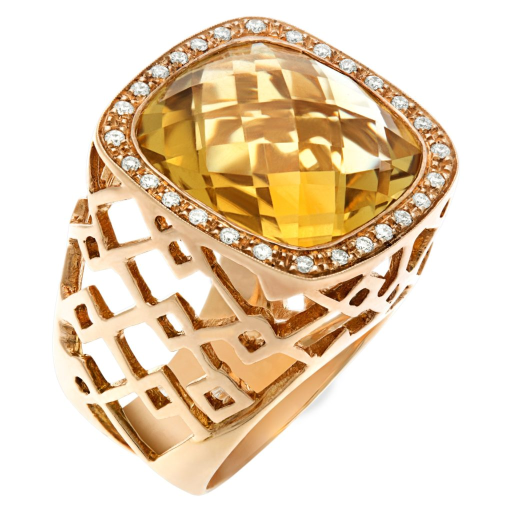 Citrine and Diamond Roberto Coin Cocktail Ring