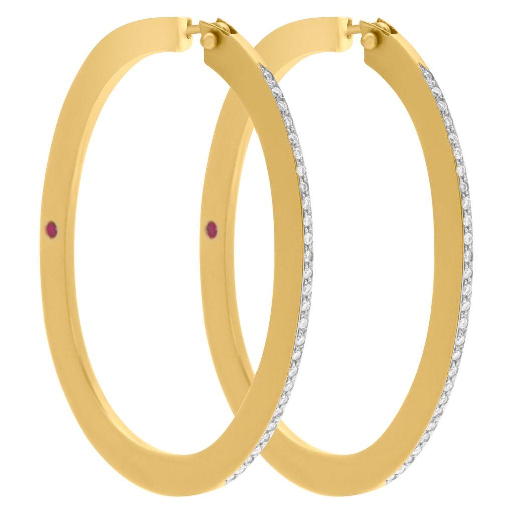 Diamond Roberto Coin Oval Hoop Earrings