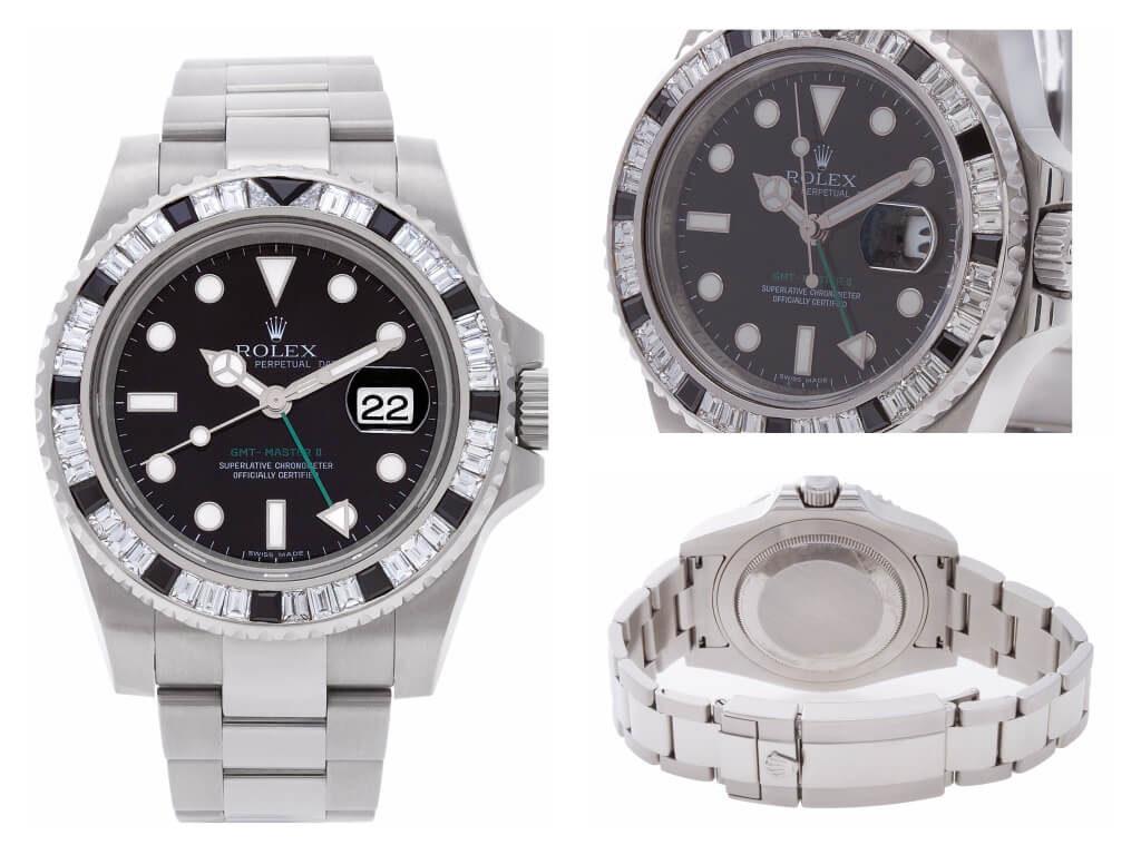 Custom Black Sapphire and Diamond Rolex GMT-Master II ref. 116710