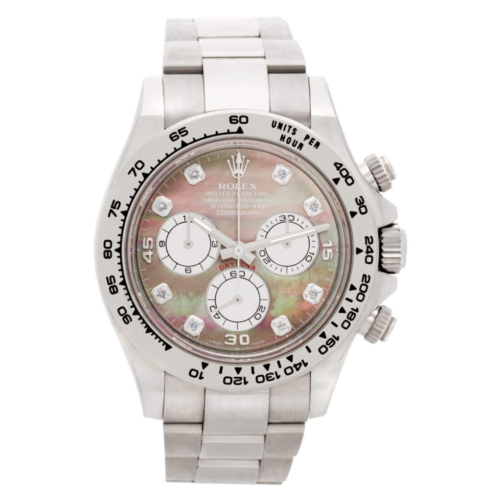 White gold Rolex Daytona ref. 116509 with a diamond mother-of-pearl dial