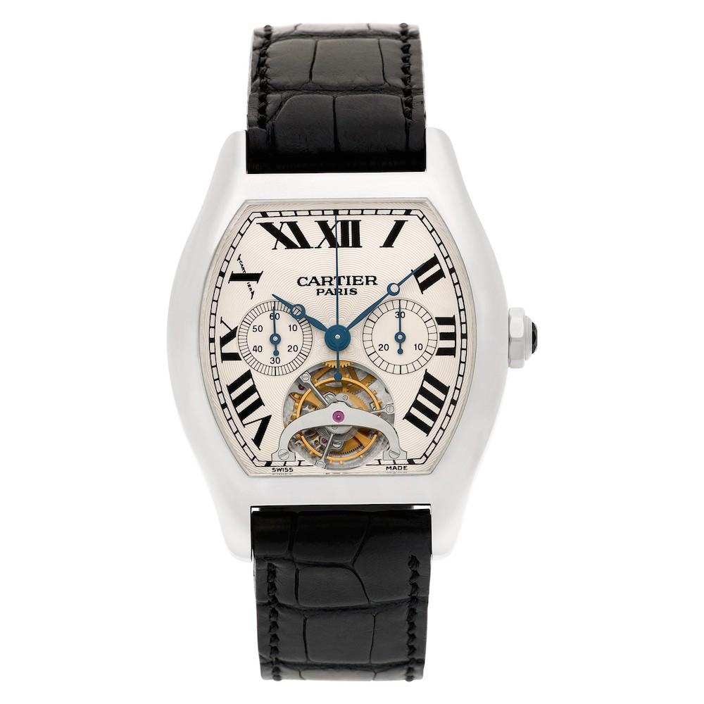 Platinum Cartier Tortue XL Tourbillon Chronograph Monopoussoir