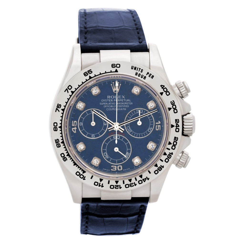 White gold Rolex Daytona ref. 116519 with a blue sodalite diamond dial and blue leather strapWhite gold Rolex Daytona ref. 116519 with a blue sodalite diamond dial and blue leather strap
