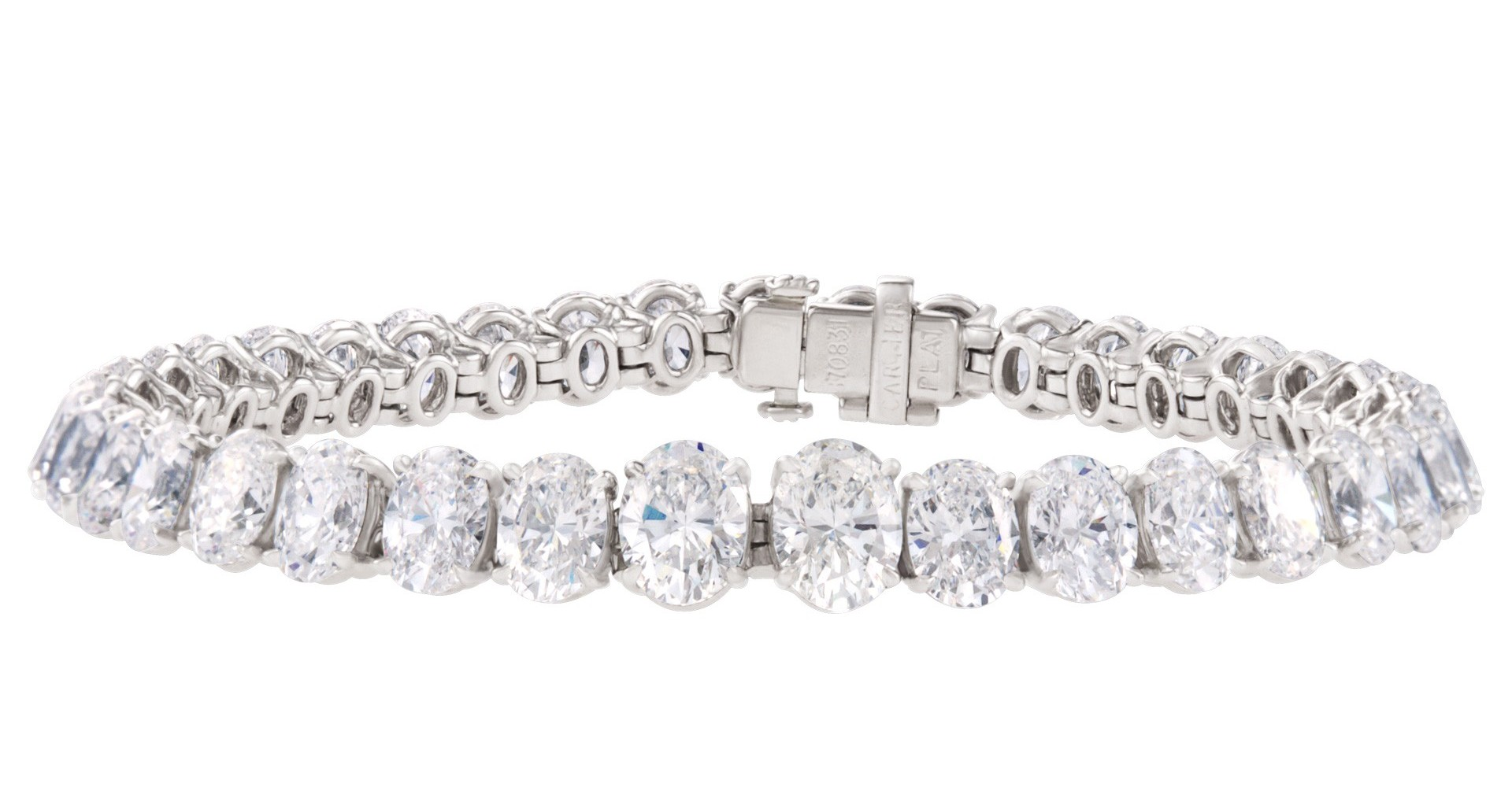Cartier Platinum Tennis Bracelet with Oval Diamonds