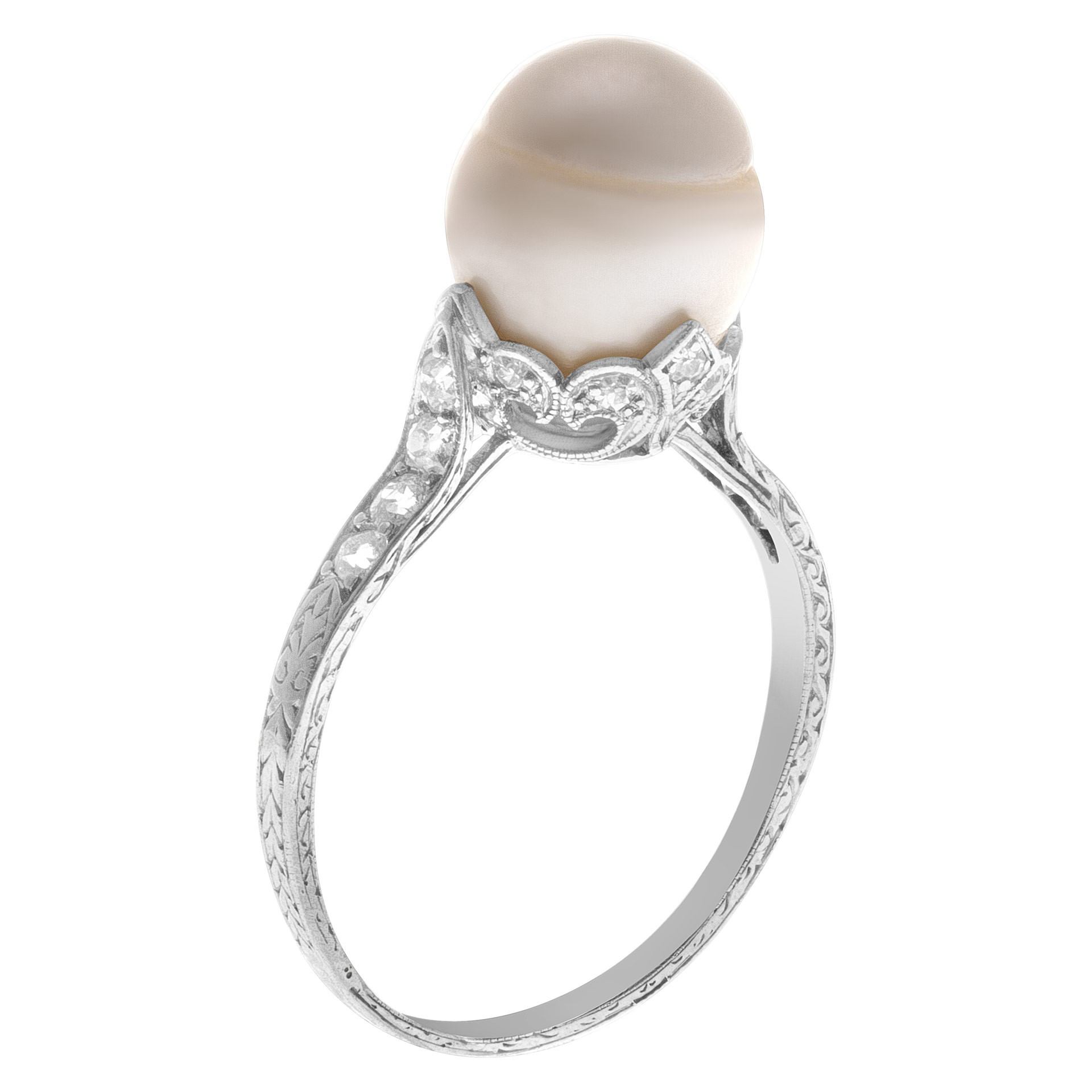 Fine Jewelry for Less than $1000: Platinum, pearl, and diamond ring.