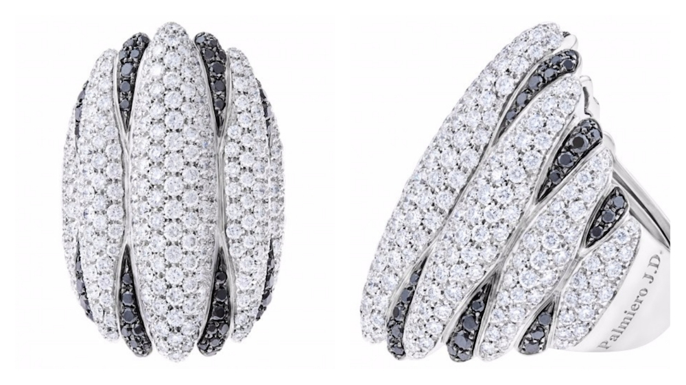 Palmiero J.D 18k White Gold Ring with Black and White Diamonds
