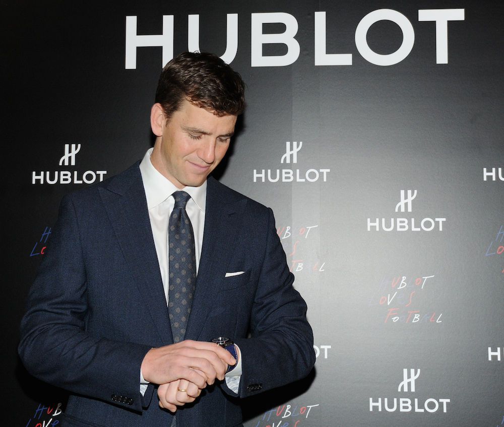 Eli Manning Joins Hublot and launches new Classic Fusion Chronograph New York (Photo by Craig Barritt/Getty Images for Hublot)
