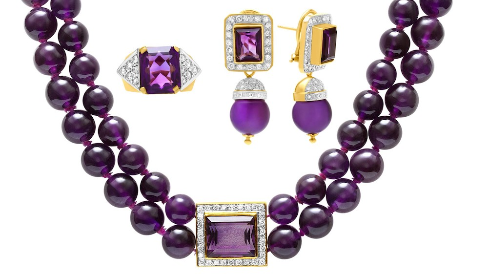 How to Wear the 2018 Color of the Year: Full Amethyst Necklace, Ring, and Earrings Set