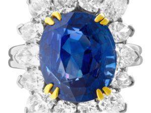 AGL Certified 13.04 carat Royal Blue Ceylon Sapphire and diamond ring in platinum
