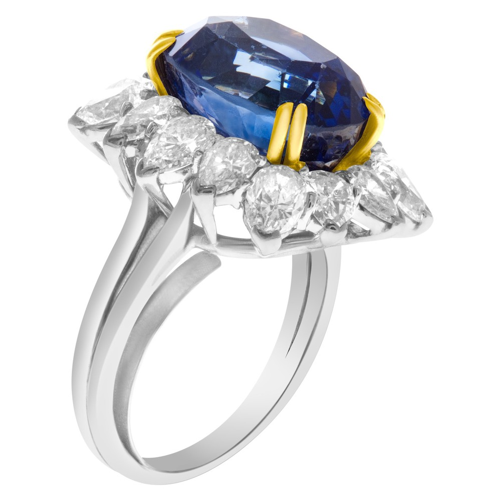 AGL Certified 13.04 carat Royal Blue Ceylon Sapphire and diamond ring in platinum