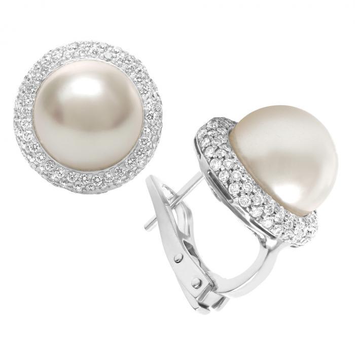 Diamond and Pearl Jewelry: South Sea Pearl and Diamond Earrings