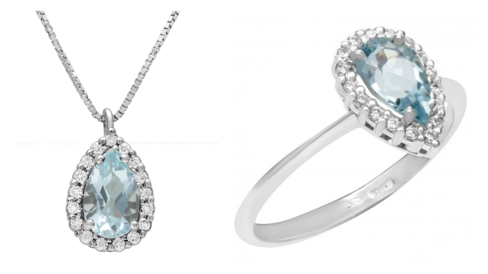 March Birthstone Aquamarine jewelry: Pear Shape Pendant and Ring