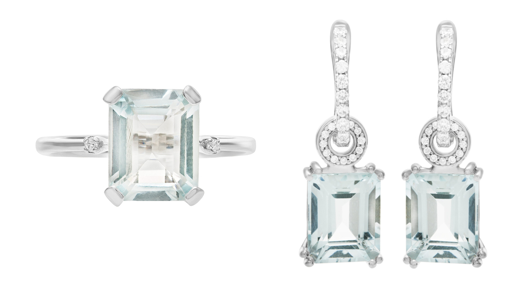 March Birthstone Aquamarine Jewelry: Emerald-Cut Ring & Earrings