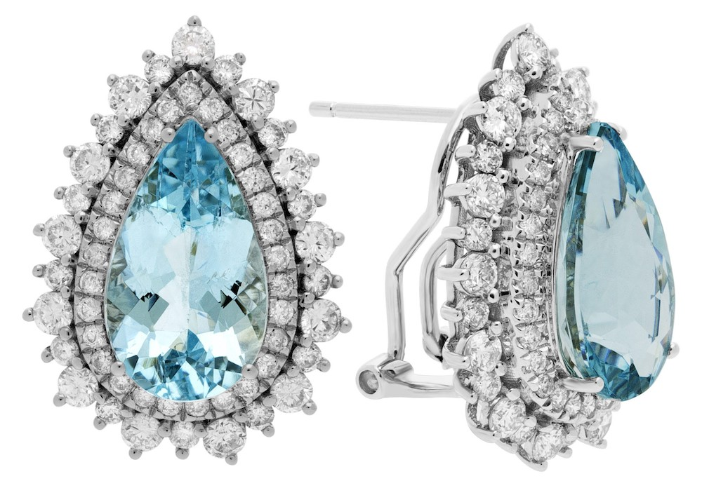 March Birthstone Aquamarine Jewelry: Pear-Cut Aquamarine Earrings