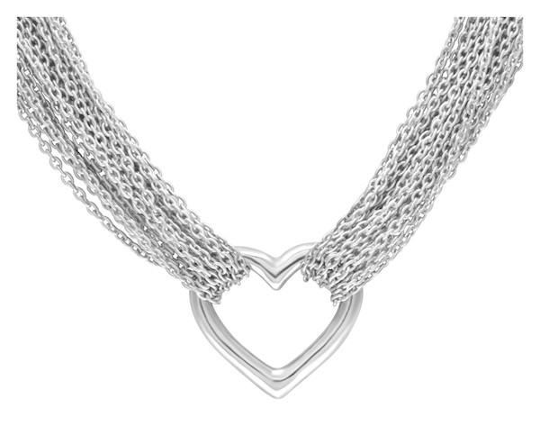 Pre-Owned Silver Tiffany & Co. Heart Pendant Multi Chain Necklace