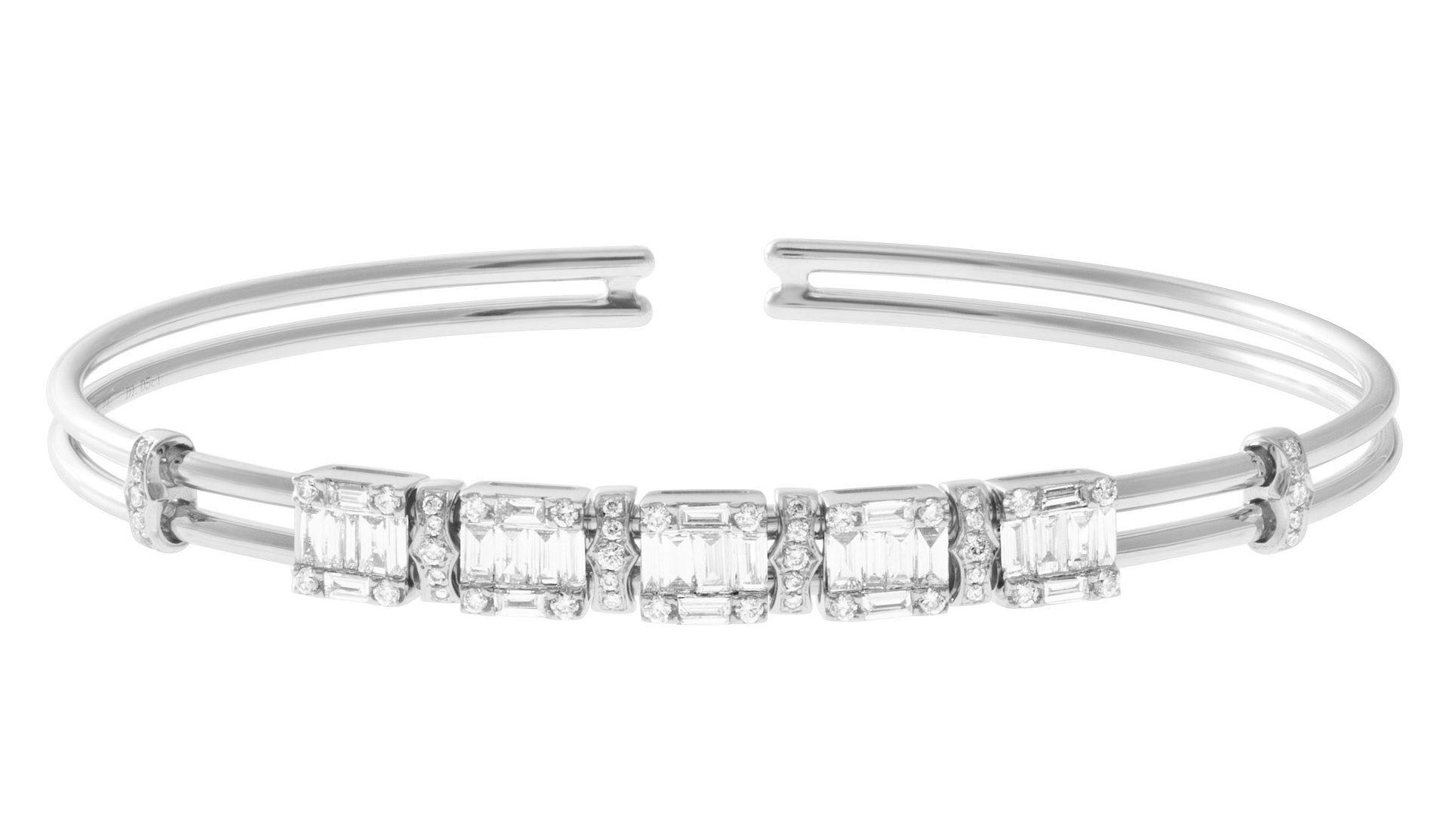 April Birthstone Diamond Jewelry: Diamond Cuff Bangle
