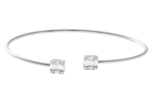 April Birthstone Diamond Jewelry: Diamond Open Cuff Bangle
