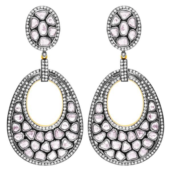 April Birthstone Diamond Jewelry: Two-Tone Rose-Cut Diamond Dangling Earrings