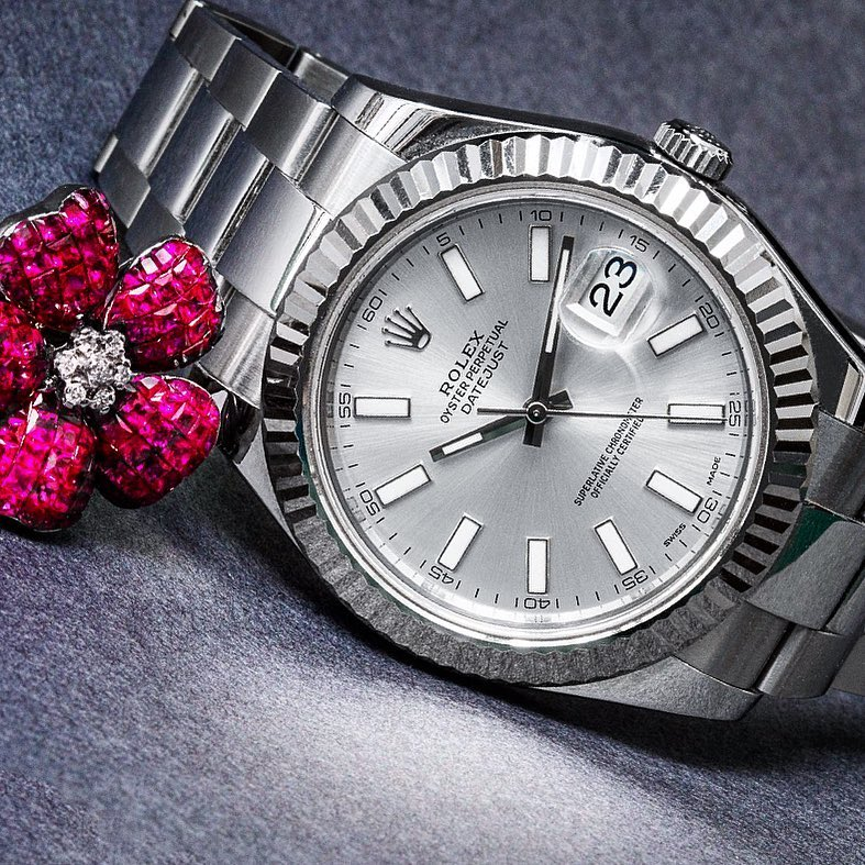 Steel Datejust II with white gold fluted bezel