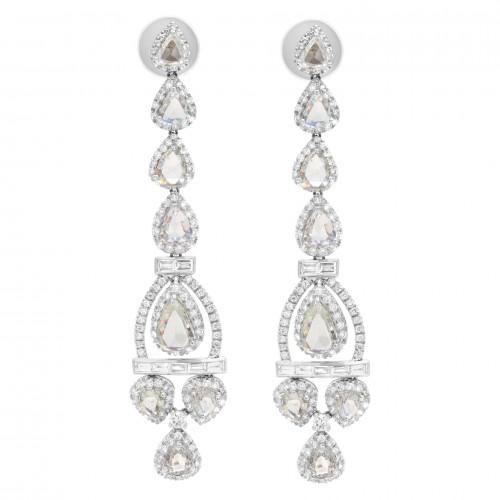 Diamond Bridal Jewelry: Rose-Cut Diamond Chandelier Earrings