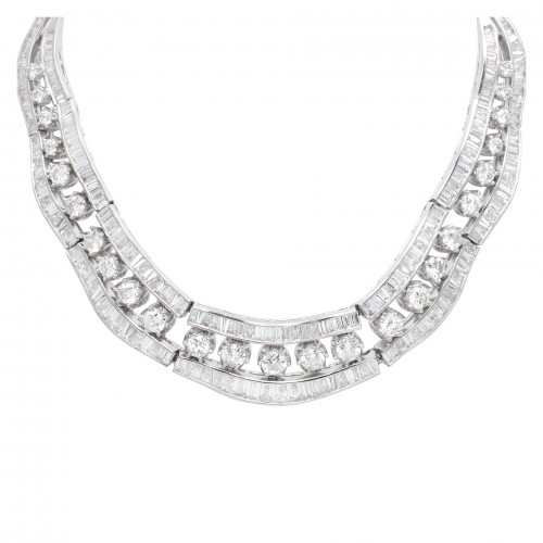 Diamond Bridal Jewelry: Tapered Baguette and Round Diamond Collar Necklace