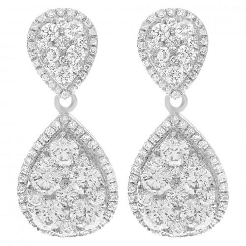 Diamond Bridal Jewelry: Pear-Shaped Diamond Earrings