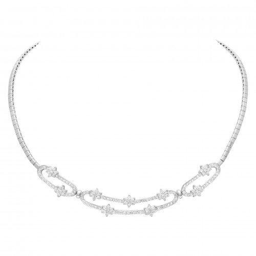 Diamond Bridal Jewelry: Diamond Flower Necklace