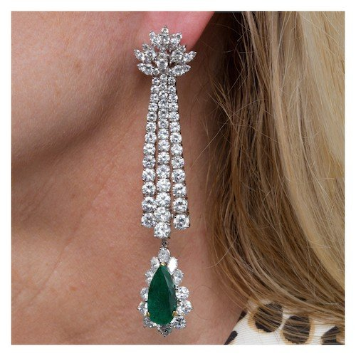 May Birthstone Emerald Jewelry: Convertible diamond and emerald drop earrings