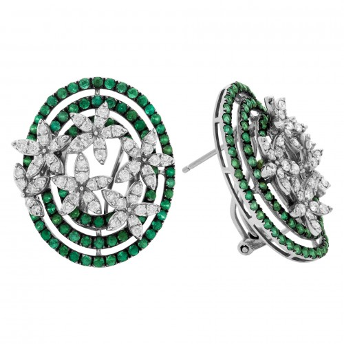 May Birthstone Emerald jewelry: Diamond and Emerald Floral Earrings