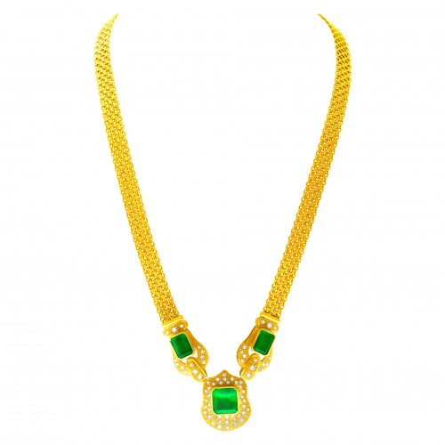May Birthstone Emerald jewelry: Vintage-style yellow gold and emerald neckalce