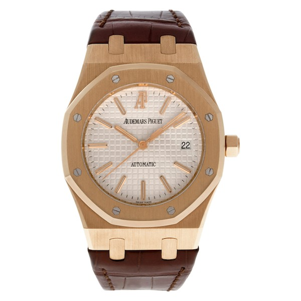 Rose Gold Audemars Piguet Royal Oak Automatic Leather Band