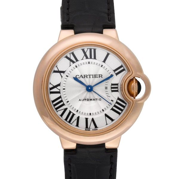 Rose Gold Cartier Ballon Bleu with a Black Leather Strap