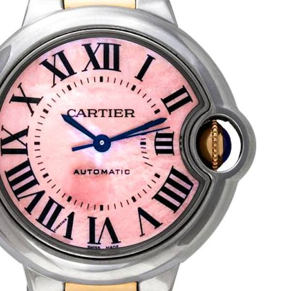 Ladies' Two Tone Cartier Ballon Bleu with Pink Dial