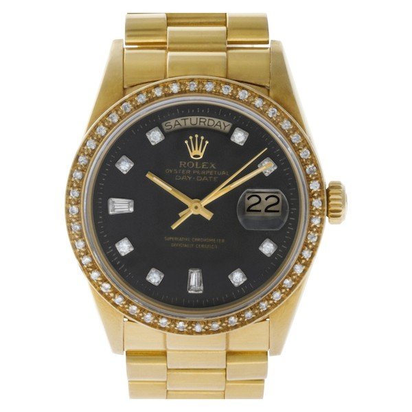 Yellow gold Rolex Day-Date President 18038 with custom diamond bezel and dial